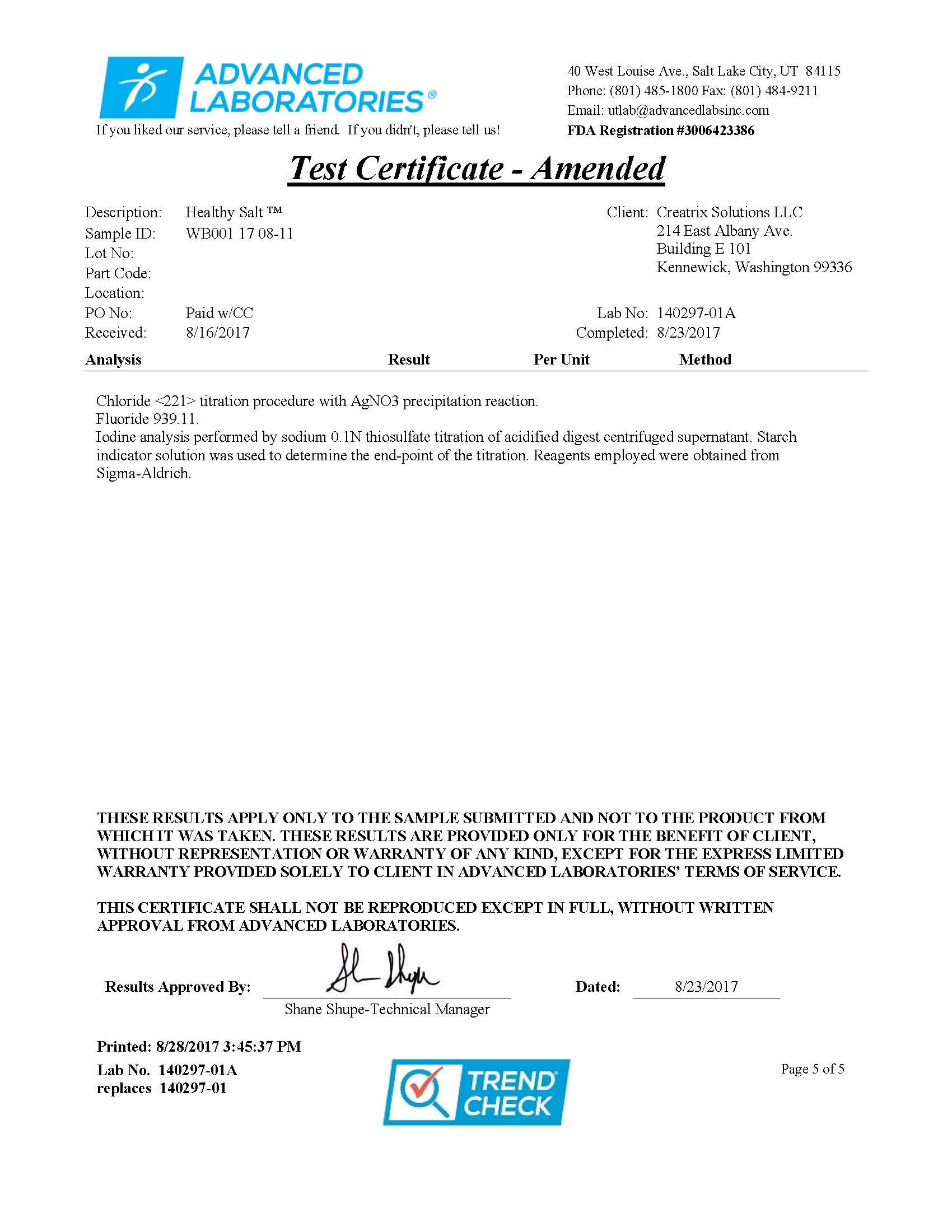 Healthy Salt Test Certificate
